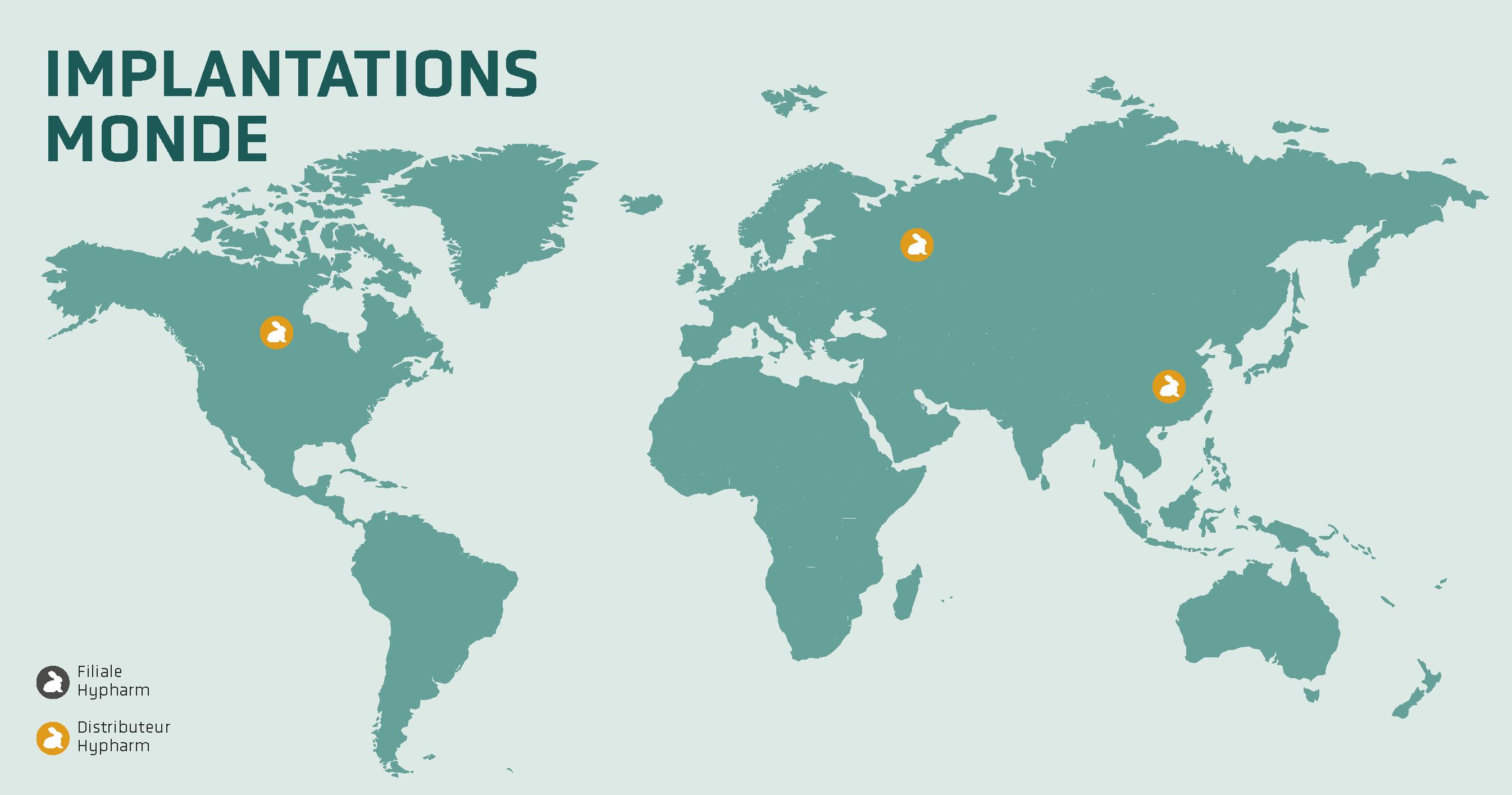 Carte des implantation d'Hypharm dans le monde