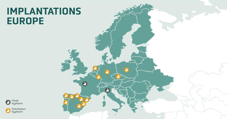 Hypharm, implantations de la société de sélection cunicole en europe
